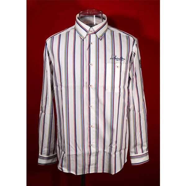百貨店 シナコバ 直営店 33%OFF 春夏長袖ボタンダウンシャツ LLサイズ ホワイト マルチストライプ-ko48