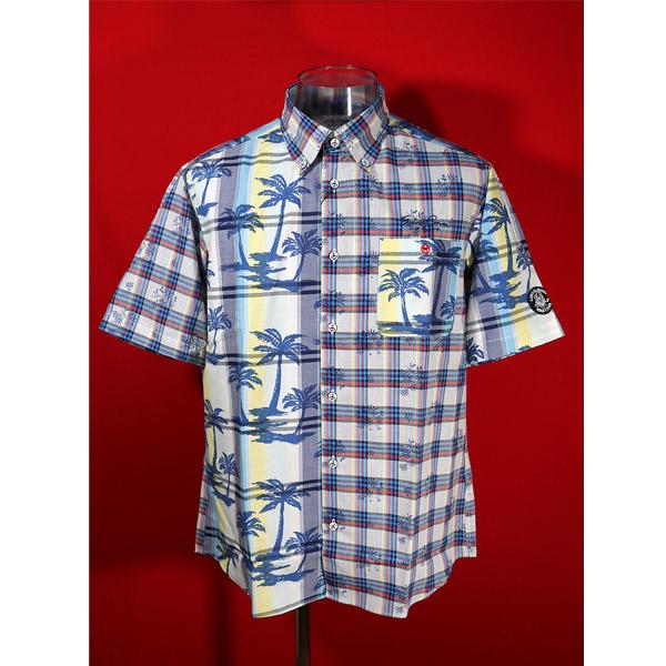 シナコバ 2021年 期間限定 新作 メーカー公式 30%OFF 春夏半袖アロハシャツ ブルー×イエロー-kp177 Lサイズ