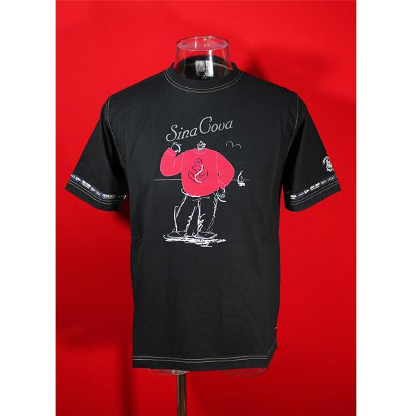シナコバ 40%OFF SINA COVA セールSALE%OFF Guest-One 黒-kr51 限定品 爆安プライス コラボTシャツ Lサイズ 春夏半袖Tシャツ