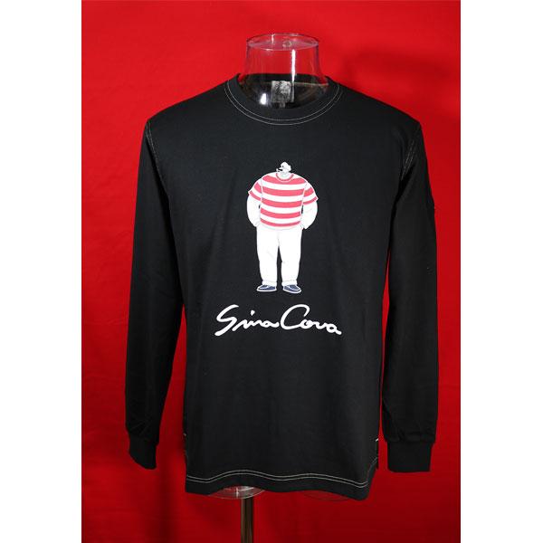 ★シナコバ<30%OFF・SINA COVA & Guest-One コラボTシャツ 限定品>秋冬長袖Tシャツ<LLサイズ>黒-ow45