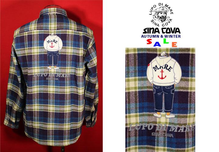 ★シナコバ<40%OFF>秋冬長袖ボタンダウンシャツ<Lサイズ>グリーン×ブルー×オフ白・チェック-hy68