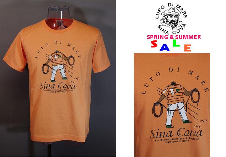 ★シナコバ<33%OFF>春夏半袖Tシャツ<Lサイズ>オレンジ-hv43