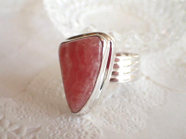 \1点もの/インカローズ(ロードクロサイト) シルバー925 リング #16号 指輪 天然石 パワーストーン 誕生石 レディース ギフト プレゼント ピンク 三角形