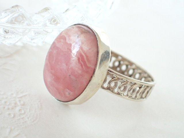 インカローズ (ロードクロサイト) デザイン シルバー925 リング ピンク オーバル 楕円 太目リング 透かしリング #15号 天然石ジュエリーのお店 リング おしゃれ シルバー925 プレゼントにもおすすめ♪ ハッピーエイト