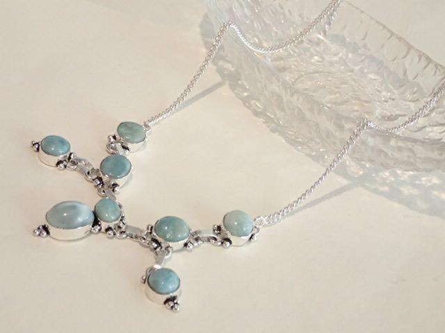 ラリマー デザイン ネックレス オーバル 8石 ブルー 青 天然石ジュエリーのお店 おしゃれ ネックレス ペンダント プレゼントにもおすすめ♪ ハッピーエイト