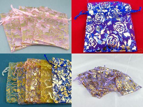 ジュエリーの保存やプレゼントに♪オーガンジー色柄お任せ巾着袋16×13cmサイズ500枚セット★