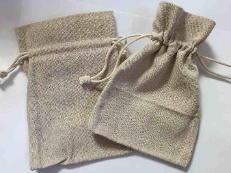 黄麻burlap巾着袋ポーチ140×95mm100枚ナチュラルカラー@75円 天然石ジュエリーのお店 ハッピーエイト