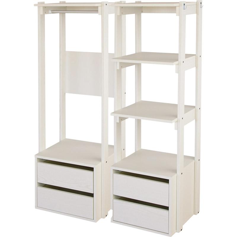 【送料無料】収納ラック MDE-1445/1445LC【ラック ハンガーラック 収納 整理 衣類 洋服 服 ホワイト 白 棚 引出し シンプル】