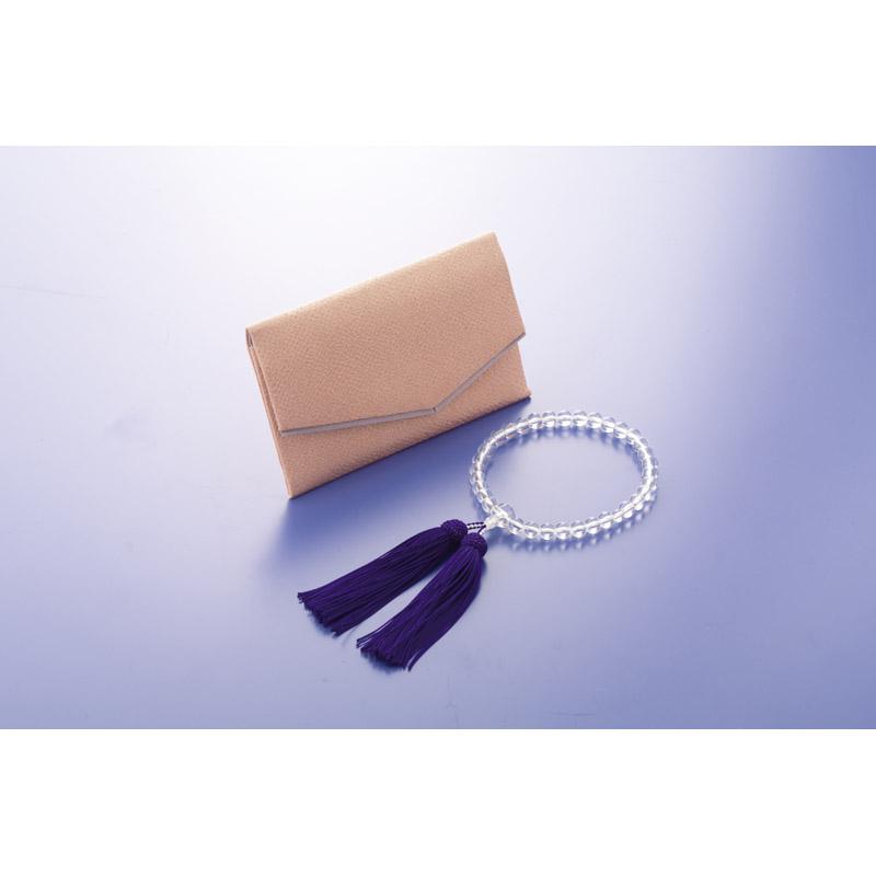 【送料無料】 本水晶京念珠・念珠袋セット 女性用 401-1007