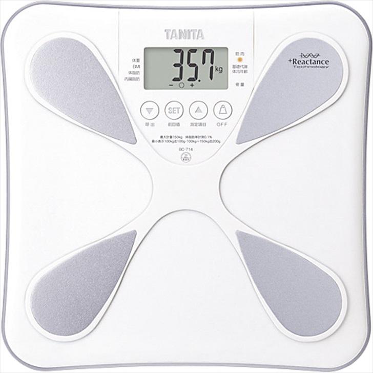 タニタ 体組成計 BC714WH【体重計 のるぴた のるだけ 体重 内臓脂肪レベル BMI 筋肉 基礎代謝 体内年齢 水分量 データ登録 体脂肪 ダイエット 健康 肥満】[tr]