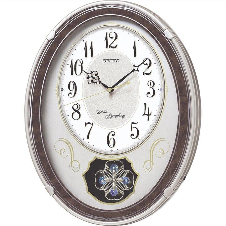 セイコー 振子付メロディ電波掛時計 AM259B【壁掛け かべかけ おしゃれ せいこー アナログ 掛け時計 振り子 電波時計 掛け時計】