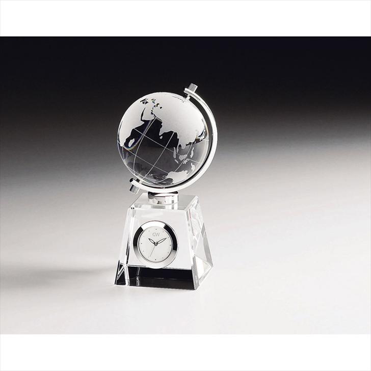 グラスワークスナルミ グローブ クロック GW1000-11011【時計 おき型 置型 卓上 置時計 ガラス 高級感 記念品 記念日 贈り物 プレゼント お祝い 誕生日 退職 卒業 入学 定年 勤続】