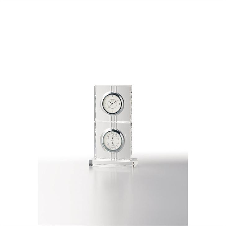 グラスワークスナルミ サーモクロック(D)【エコロ】 GW1000-11018【時計 おき型 置型 卓上 置時計 ガラス 高級感 記念品 記念日 贈り物 プレゼント お祝い 誕生日 退職 卒業 入学 定年 勤続】[tr]