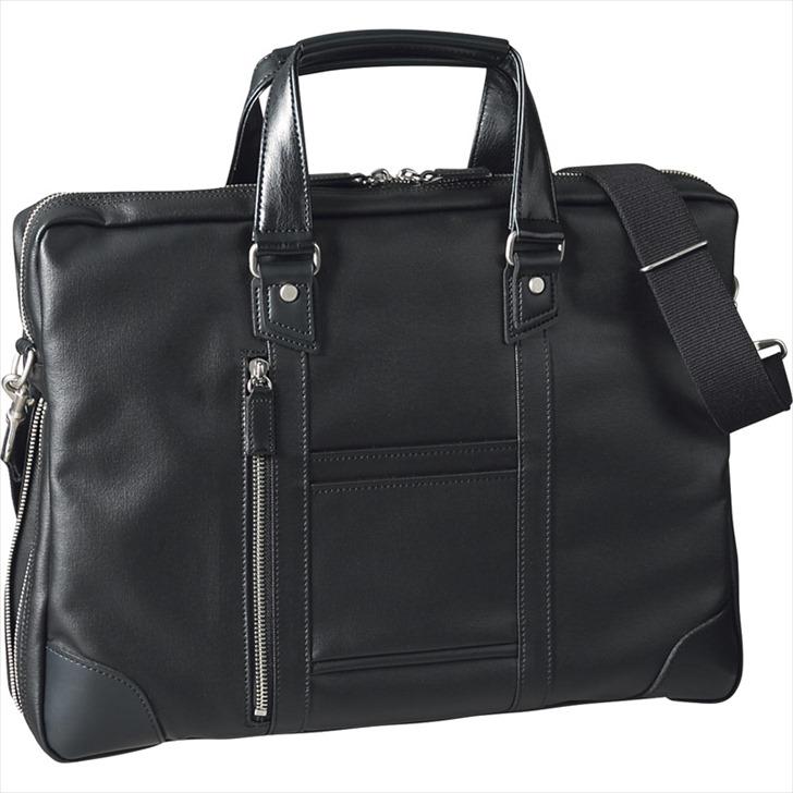 ヒルトン クラブ 帆布コート ビジネスブリーフ ブラック 3205【ビジネスバッグ かばん メンズ 男性 2way かたかけ かっこいい しょるだー ショルダー とーと 手提げ 日本製 営業 ブラック 黒】