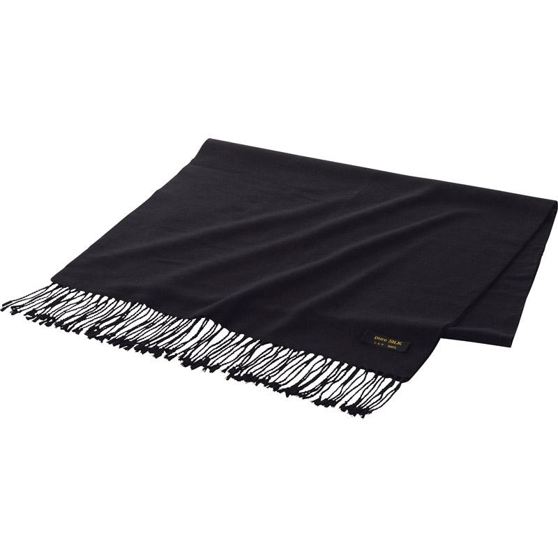 【送料無料】 シルクストール ブラック KR11 E 【マフラー きぬ100% シルク製 シルク100% 肌触り なめらか おしゃれ 通勤 通学 冬 暖かい】