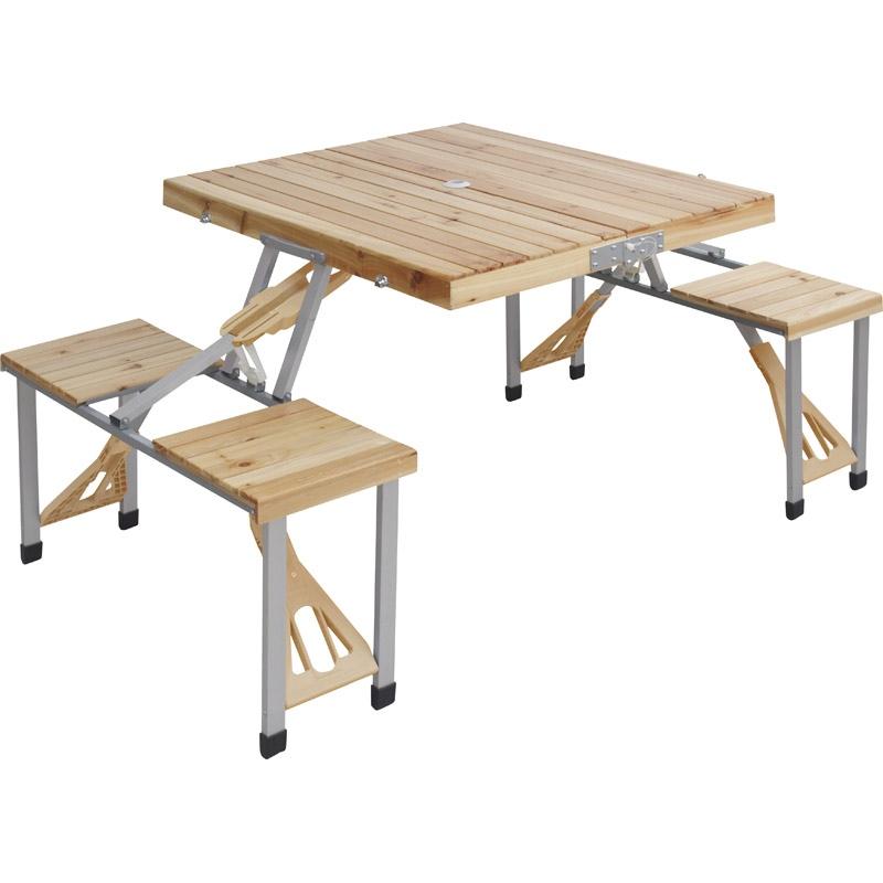 【送料無料】 木製ピクニックテーブル 【キャンプ バーベキュー アウトドア 食事 折り畳み 4人用 テーブル 椅子付き 木 屋外】