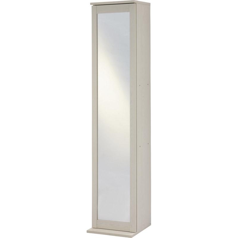 【送料無料】ボックスミラー 木目調ホワイト 【鏡 全身 姿見 ミラー ボックスミラー 収納 棚 ラック ホワイト 白 木目調 シンプル 可動棚 扉】