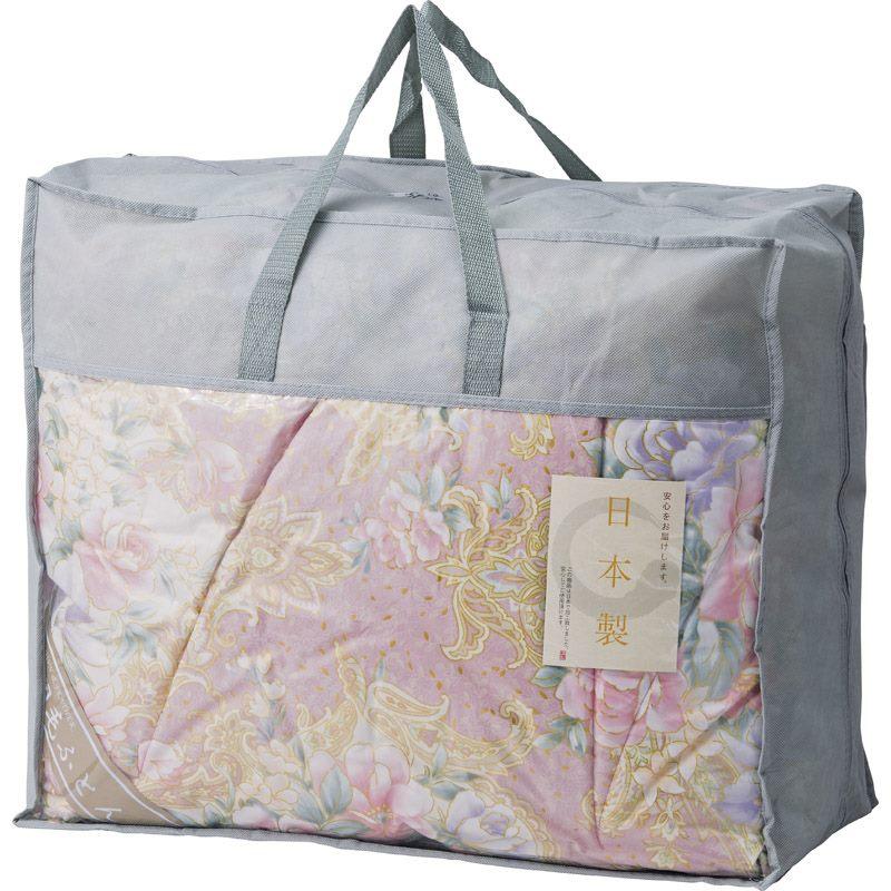 【送料無料】 日本製 羽毛布団バッグ入り ピンク BUF-1301 【シングル おしゃれ 羽毛 通気性 ふわふわ やわらかい】