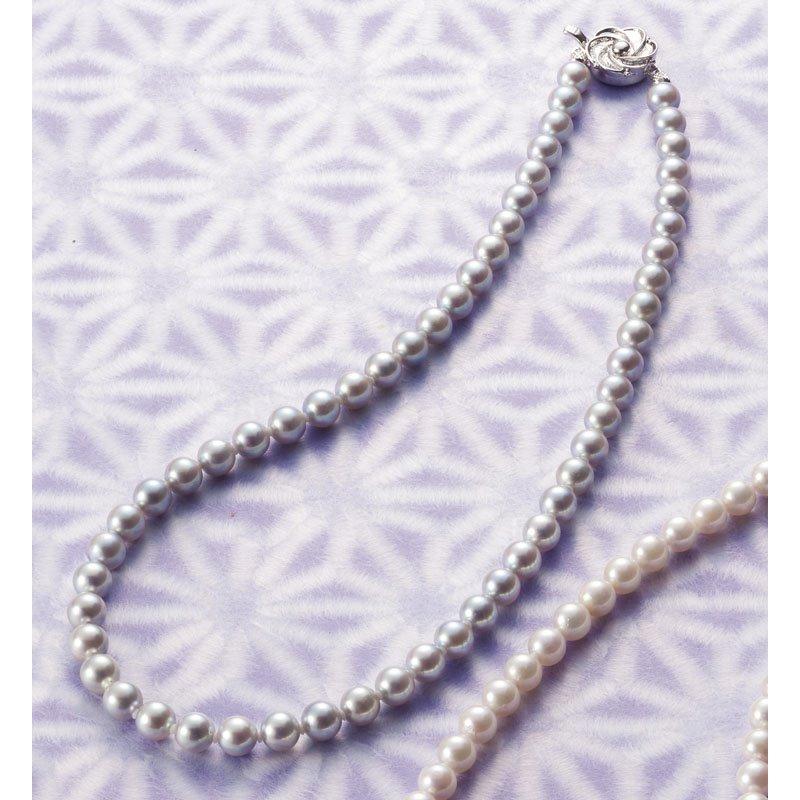 【送料無料】 アコヤ本真珠ネックレス グレー E5600AG 【冠婚葬祭 フォーマル 本真珠 きれい 結婚式 喪服 アクセサリー】