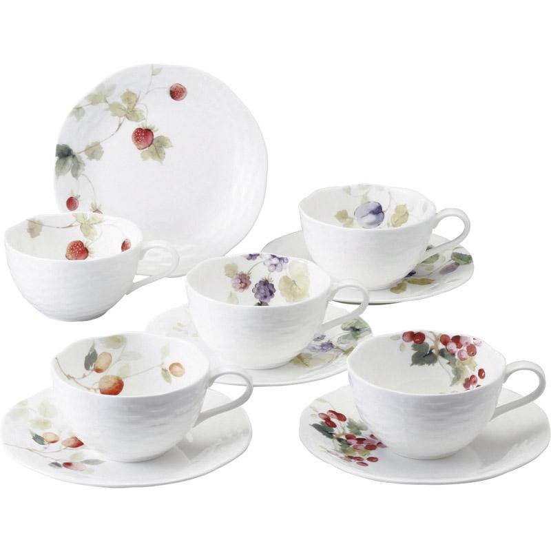 【送料無料】ナルミ ルーシーガーデン 5客アソートティー・コーヒー碗皿 96010-23067P