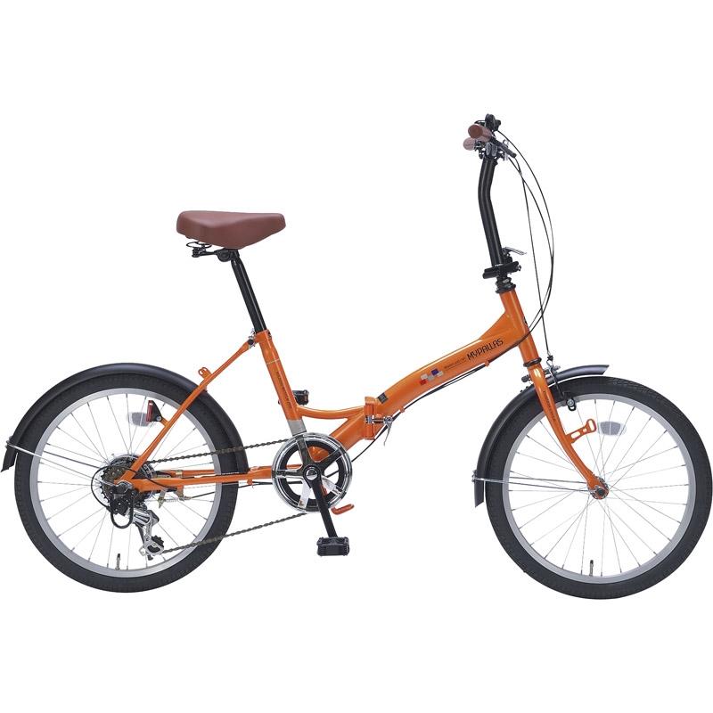 【送料無料】 折畳自転車20インチ6ギア オレンジ M-209 OR【自転車 おりたたみ 軽量 人気 20インチ】