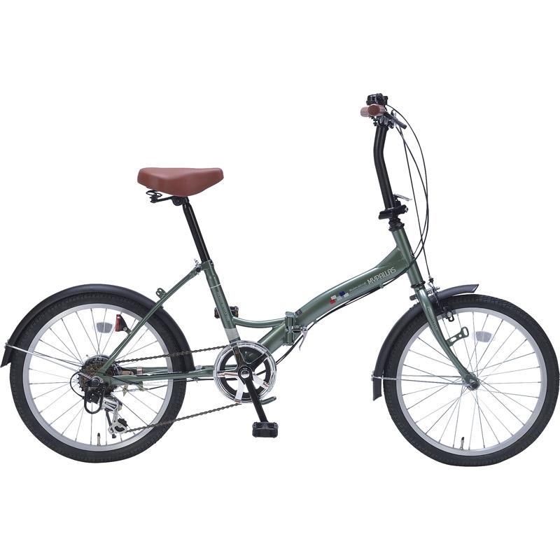 【送料無料】 折畳自転車20インチ6ギア グリーン M-209 GR【自転車 おりたたみ 軽量 人気 20インチ】