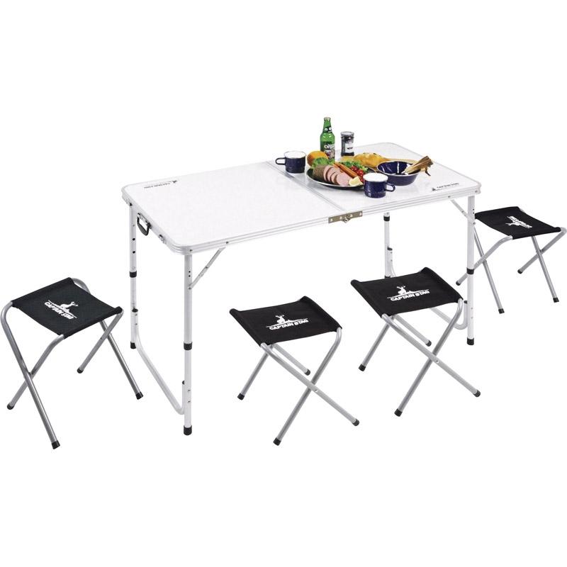 キャプテンスタッグ ラフォーレ テーブル・チェアセット(4人用) UC-0004【イス アウトドア テーブル チェア コンパクト おりたたみ 屋外 キャンプ】