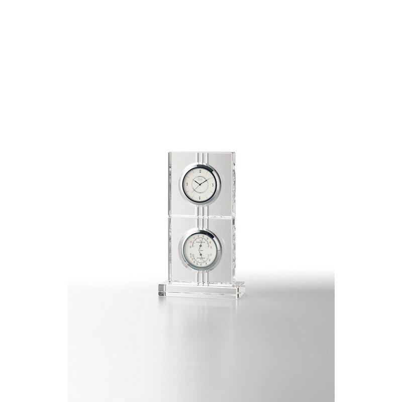 【送料無料】 グラスワークスナルミ サーモクロック(D)[エコロ] GW1000-11018【アナログ 記念時計 上品 贈答品 贈呈品 透明感 おしゃれ 記念品 シンプル 置時計ガラス ブランド】[tr]