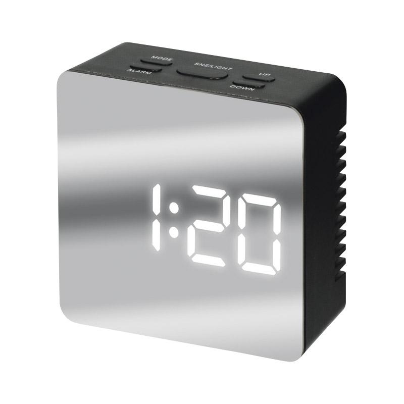 ミラークロック(スクエア) 黒 195747【おき型 デジタル おしゃれ 置き時計 わかりやすい 見やすい 卓上 たくじょう かっこいい】[tr]