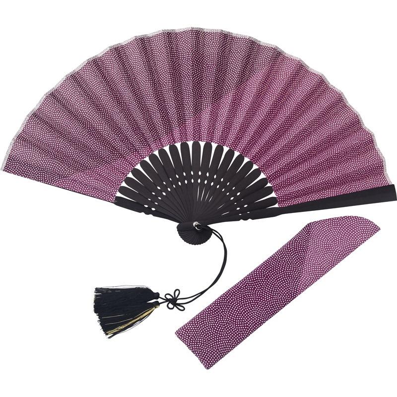 【送料無料】 江戸小紋扇子 紫