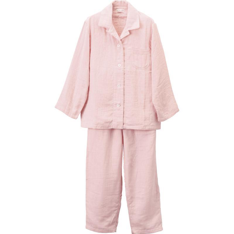 【送料無料】 UCHINO マシュマロガーゼ レディスパジャマ MRC15682 P 【大人 襟付き 着心地 睡眠 通年 ギフト 前開き プレゼント 室内着 寝間着 ねまき 女性 レディース ピンク Mサイズ】