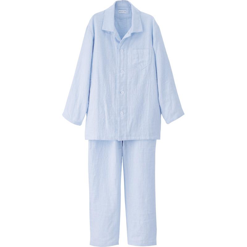 【送料無料】 UCHINO マシュマロガーゼ メンズパジャマ MRC15680 LB 【大人 襟付き 着心地 睡眠 通年 ギフト 前開き プレゼント 室内着 寝間着 ねまき 男性 メンズ Mサイズ】[tr]