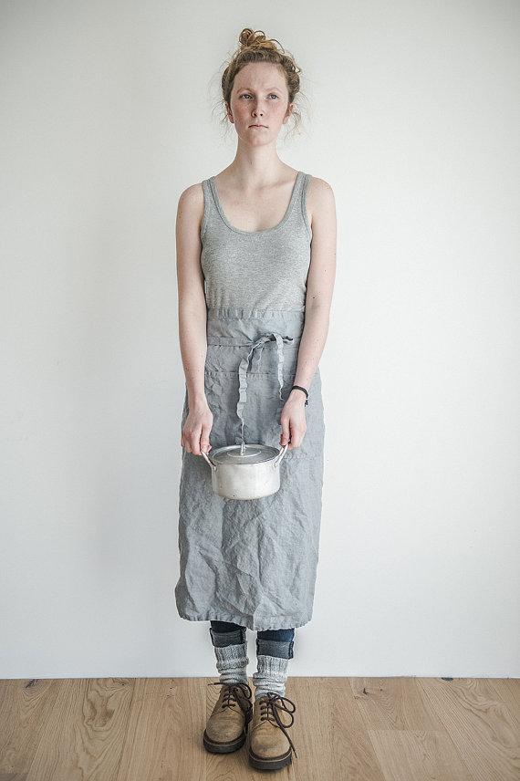 hafen not perfect linen garcon linen apron light grey apron rakuten global market. Black Bedroom Furniture Sets. Home Design Ideas