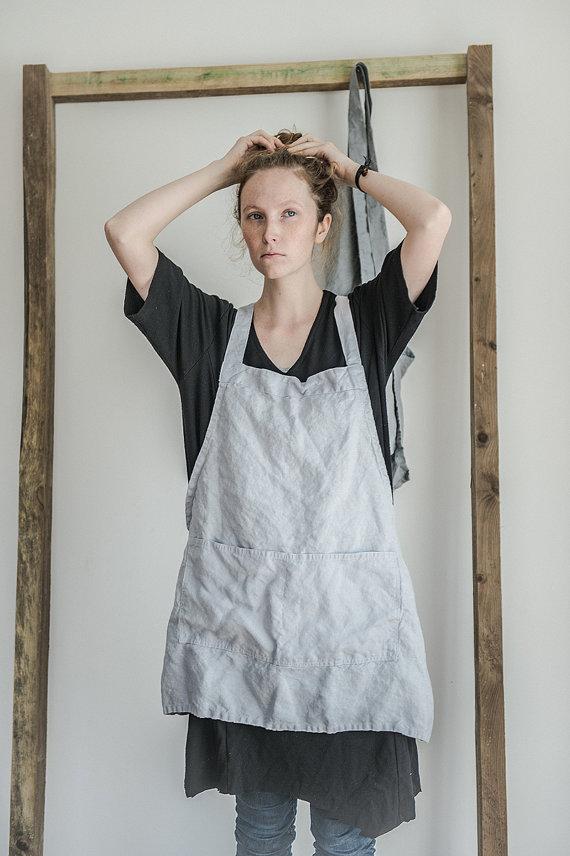 hafen rakuten global market not perfect linen short square cross linen apron silver washed. Black Bedroom Furniture Sets. Home Design Ideas