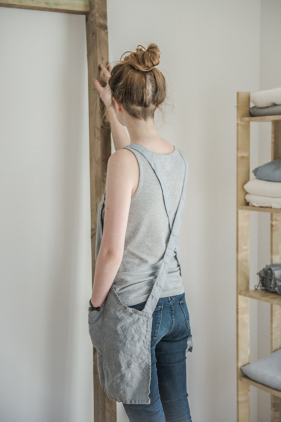hafen not perfect linen short square cross linen apron. Black Bedroom Furniture Sets. Home Design Ideas