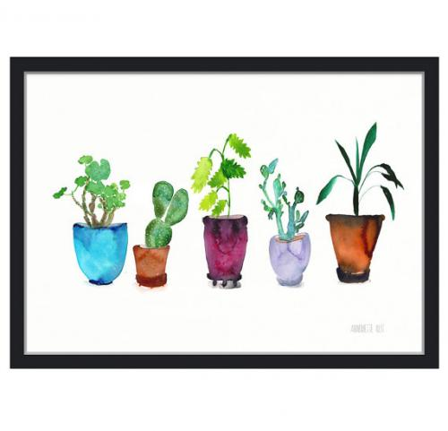 Annemette Klitのウォーターカラー ポスター THE CLAY PLAY 誕生日プレゼント PLANTS 直送商品 アートプリント POTTED no.609x 5 A3