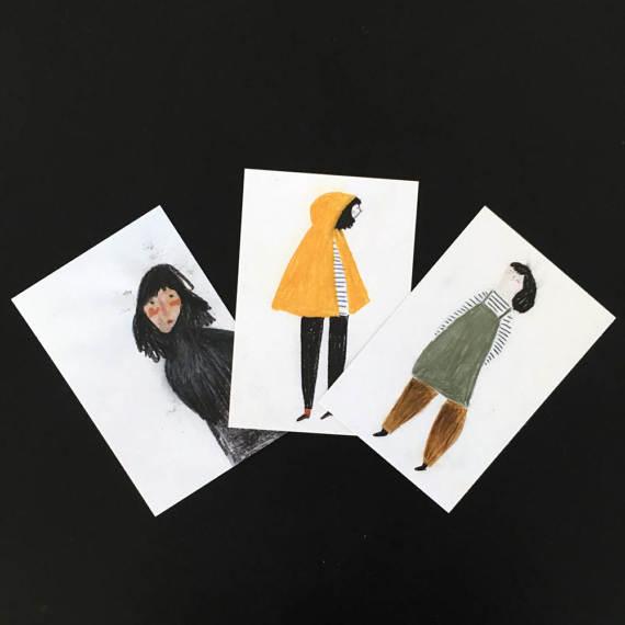 メール便配送OK スペインからBlanca Gomezのキュートなポストカード セット SALE 1着でも送料無料 セール BLANCA WOMEN GOMEZ ポストカード3枚セット set of 3 POSTCARDS 正規激安