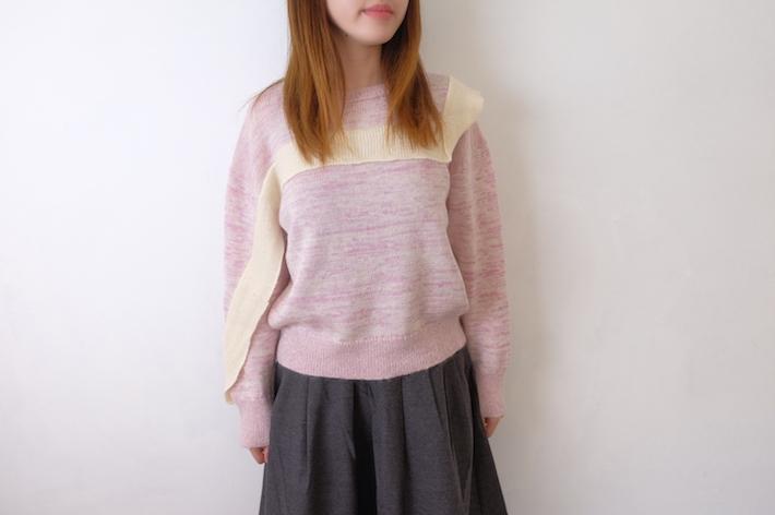 【SALE セール】YUKI | W/Mo テープ掛けプルオーバー (ピンク) | ニット