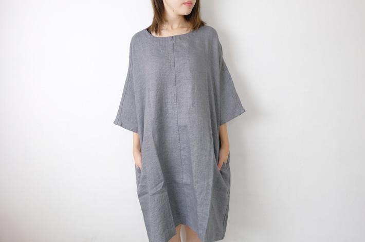not PERFECT LINEN | washed linen KIMONO tunic (grey linen/wool blend/round neck) | 着丈95cm