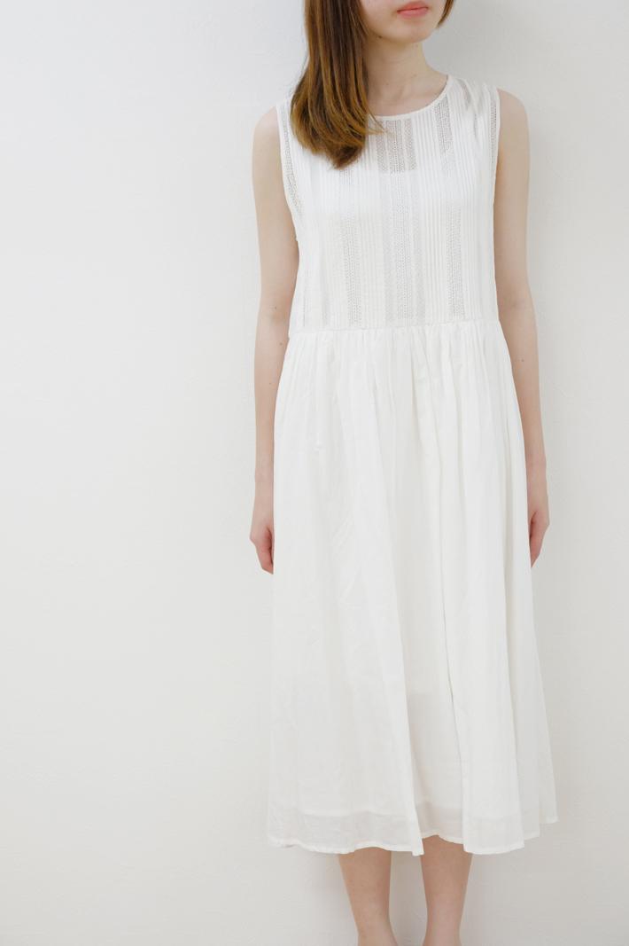 【SALE セール】utilite   レースピンタックワンピース (white)   ワンピース【ユティリテ レディース シンプル おしゃれ】