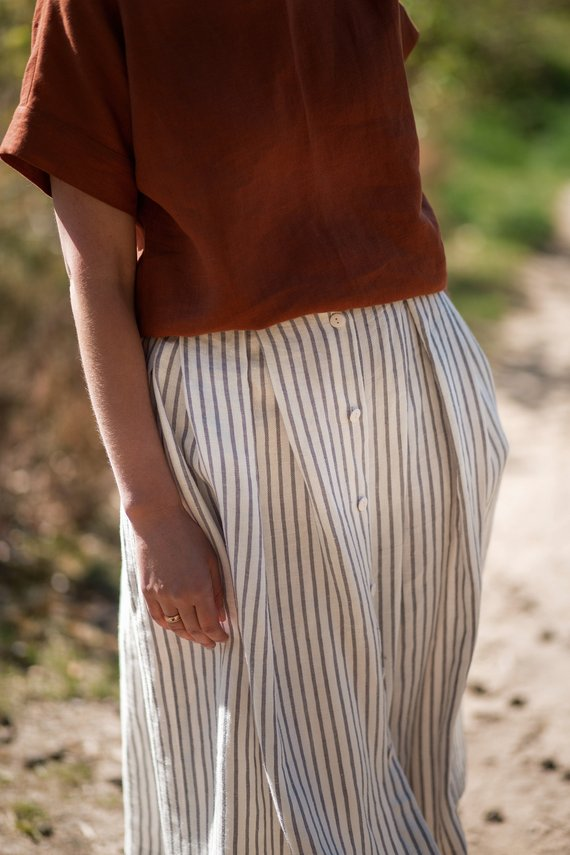 OffOn | linen woman skirt (grey stripe) | スカート | UK 8【リトアニア リネン 麻 北欧 東欧】