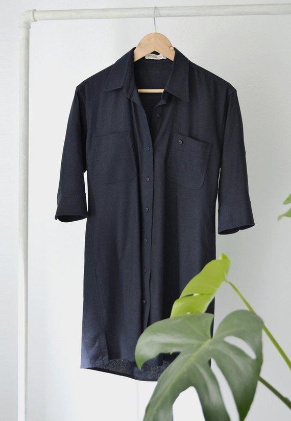 【SALE セール】CEREMONY | Loose linen dress (navy blue) | トップス【ネイビーブルー シンプル レディース】