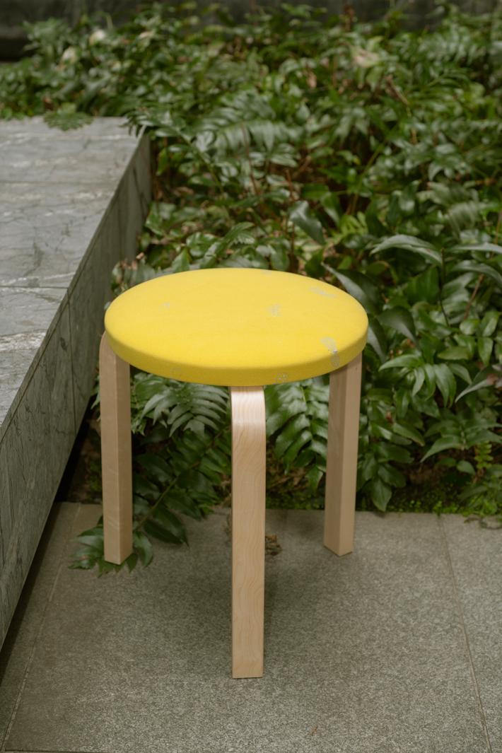 artek x mina perphonen | STOOL 60 series 2 dop choucho (seat: yellow / leg: natural)