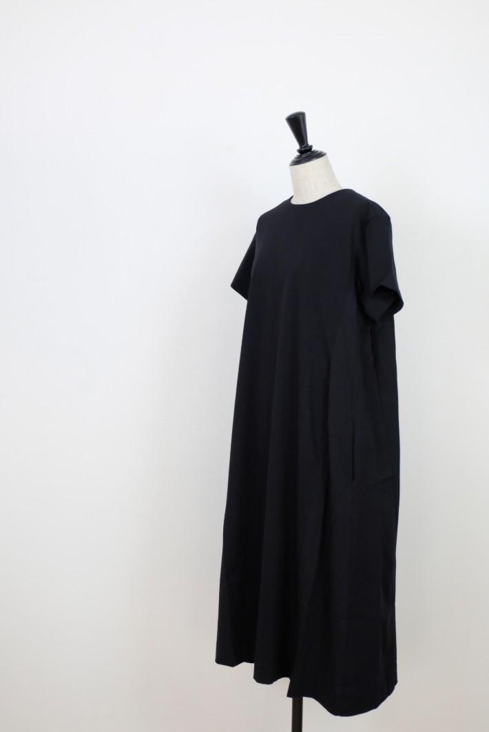MB   High density jersey DRESS (black)   ワンピース【エムビー 無地 ブラック カジュアル】