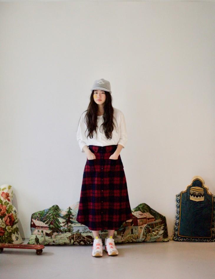 STORAMA   Checked Bottondwn Skirt (red)   スカート【ストラマ レッド チェック】