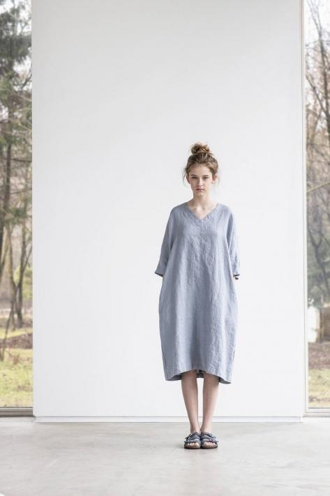 not PERFECT LINEN | washed linen KIMONO tunic (light grey) | 着丈90cm【リネン 麻 ナチュラル リトアニア 北欧 東欧 シンプル おしゃれ 】