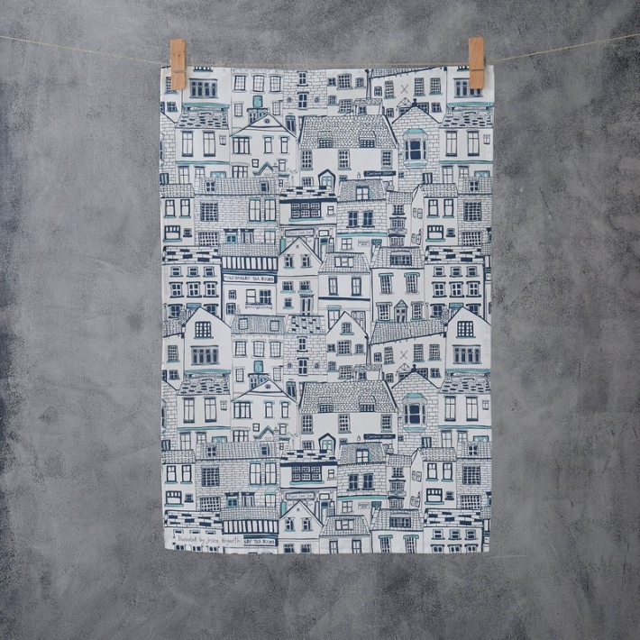 メール便送料無料 JESSICA HOGARTHのおしゃれなティータオル HOGARTH HOUSES ILLUSTRATION TEA 公式ショップ TOWEL 出荷 キッチン ティータオル おしゃれ 北欧 シンプル タオル