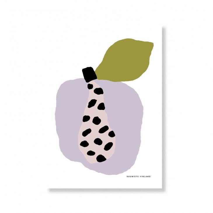 【メール便配送OK】KaunisteからフルーティーなテキスタイルのA5ポスター。 KAUNISTE   TUTTI FRUTTI PAPAYA (オリーブ)   A5 アートプリント/ポスター【メール便配送OK 北欧 シンプル おしゃれ】