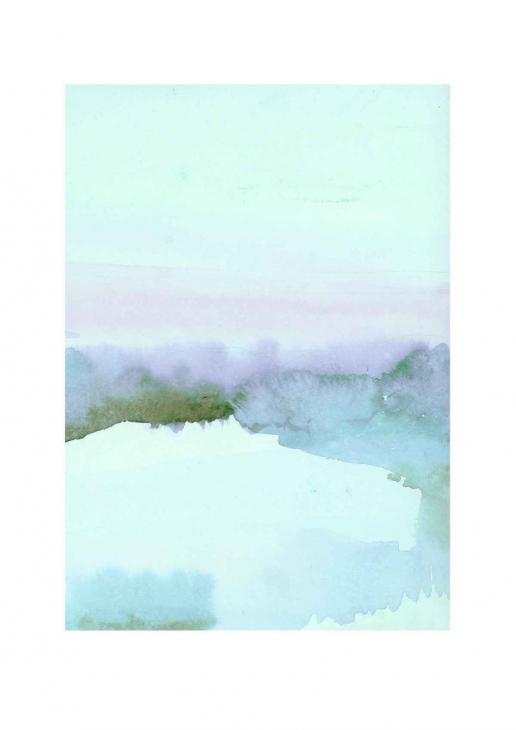 LOUISE ART STUDIO | THE BLUE HOUR #1 | A3 ポスター/アートプリント【北欧 アブストラクト 水彩】