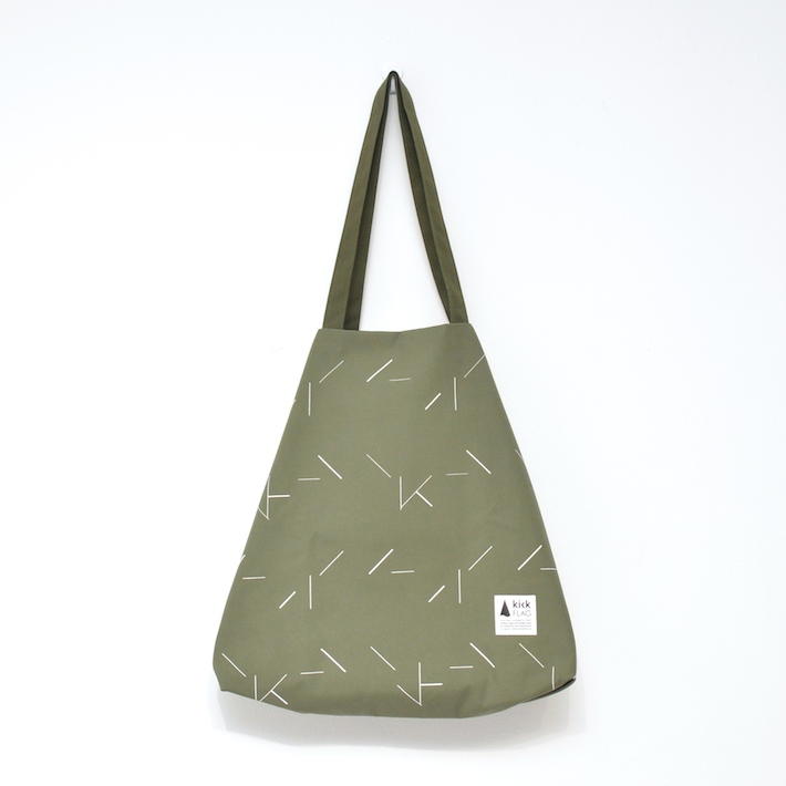 【在庫残1】kick FLAG | flag bag / line(khaki) | TOTE BAG